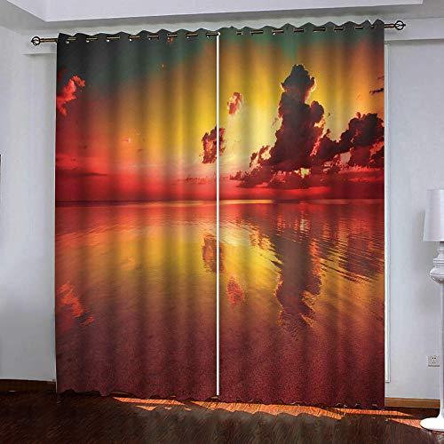 CHNXXL vorhänge kinderzimmer 3D Drucken Sonnenuntergang Meerwasser Lichtundurchlässige Vorhang mit Ösen Polyester Blickdicht Gardinen für Schlafzimmer Wohnzimmer 280(W) x215(H)(cm) 2 Stücke