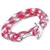 unendlich u hope, braccialetto intrecciato in corda di nylon, multistrato, con ciondolo a forma di ancora, confezione da 1 o da 5  e base metal, colore: rot, cod. b2352-red