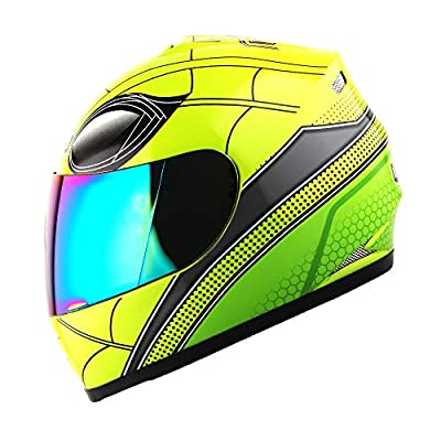 WOW Motorcycle Full Face Helmet Street Bike BMX MX Youth Kids Spider Green