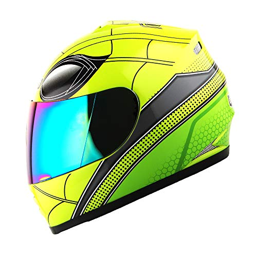 WOW Motorcycle Full Face Helmet Street Bike BMX MX Youth Kids Spider Green; Size Small (49-50 cm 18.9/19.3 Inch)