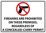 ZING 1823S Concealed Carry Label, Firearms Prohibited, 5Hx7W, Recycled Polystyrene Self-Adhesive, 2/Pk