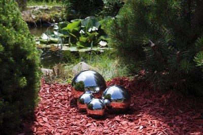Schwimmkugeln aus poliertem Edelstahl, 4er Set, (2 x Ø 10 cm, 1 x Ø 15 cm, 1 x Ø 20 cm) wetterbeständig 10/15/20cm NEU Gartenkugel Rosenkugel