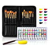 Paint Brush Set with 15 Different Sizes Artist Brushes and 12 Color Acrylic Watercolor Oil Gouache Paint, Pallete Knife and Standable Organizing Case, Nylon Hair and Non Slip Matte Handles