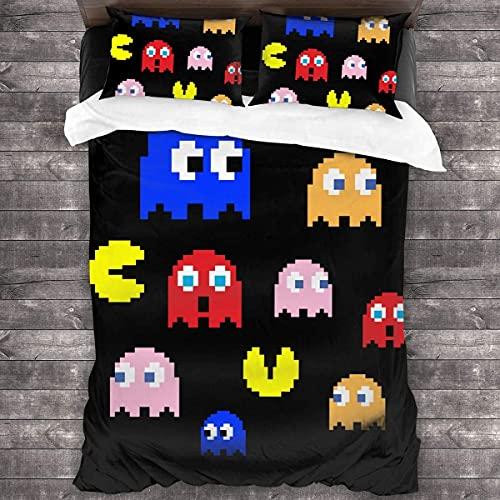 'N/A' Pacman Arcade Game Bettwäsche, 3D-Bettdecke, Steppdecken-Set, dekoratives 3-teiliges Bettwäscheset mit 2 Kissenbezügen, bequemes Zuhause 2021