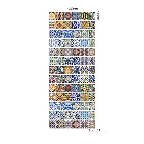 Pegatinas de pared extraíbles autoadhesivas mural art vinilo decorativo hogar DIY sala de estar escalera dormitorio decoración papel tapiz regalo frase francesa clásico azul azulejo pegatina