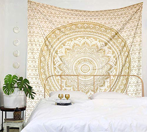 Raajsee Indisch Hippie Metallisch Gold Wandteppich Mandala, Indien Baumwolle weiß Golden groß Wandbehang, Boho Wandtuch Raumdekoration Queen Tapisserie 210x220 cms
