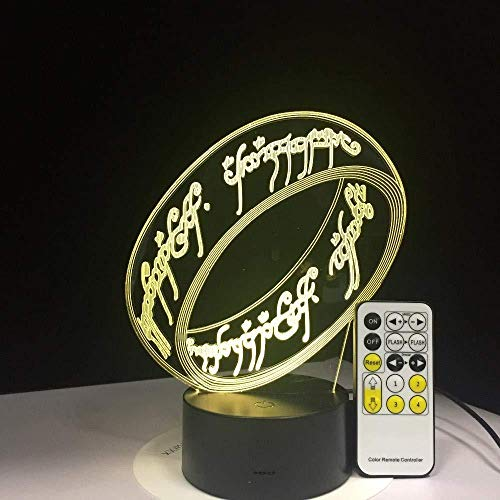 Luz de ilusión LED 3D El señor de los anillos 7 colores Luz dimensional controlada a distancia Luces de noche ópticas Lámpara de mesa Ambiente Decoración Niños Regalos de cumpleaños