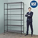 Storage Metal Shelf Wire Shelving Unit with Wheels 82'x48'x18' Sturdy Steel Heavy Duty 6 Tier Layer Rack with Casters for Restaurant Garage Pantry Kitchen Garage Rack Black