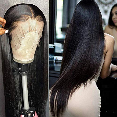 Brazilian Human Hair Lace Front Wigs For Black Women Straight Hair 13x4 Lace Front Wigs With Baby Hair 150% Density Natural Hairline 30 Inch Brazilian Virgin Hair natural color