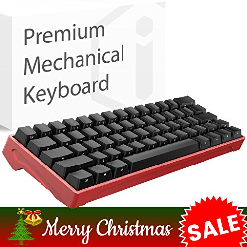 iQunix Lambo 62 Silver Body with Black Keycaps Mechanical Keyboard, for Programming, Designing, Gaming, works with Mac OS and Windows, includes your choice of Cherry MX switches in Blue or Brown