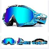 Lunettes de protection IHRKleid - Pour moto, snowboard, ski, dirt bike - Protection contre la poussière et le vent - Idéales pour sport d'hiver., bleu