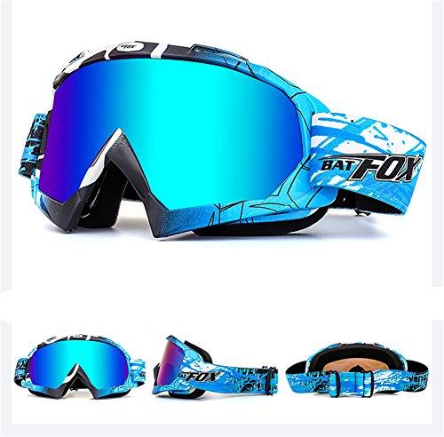 IHRKleid Motorrad Goggle Motocross Wind Staubschutz Fliegerbrille Snowboardbrille Schneebrille Skibrille Wintersport Brille Dirtbike Off-Road Schutzbrille (Blau)