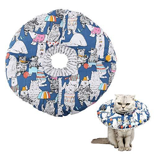 YOUTHINK Collar de recuperación para Mascotas, Collar de protección Suave para Gatos Cuello de protección Cuello de Seguridad El Collar de Seguridad con Cuerda Ajustable no bloquea la visión (Azul)