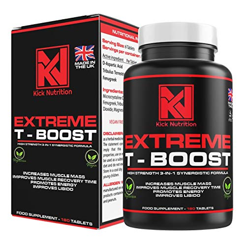 T - Boost | Testosterone Booster Supplements for Men | 180 Tablets – Great for Men's Health | Reduce Levels of Fatigue | Magnesium Intake | Mass Gainer & Muscle Recovery - Made in The UK