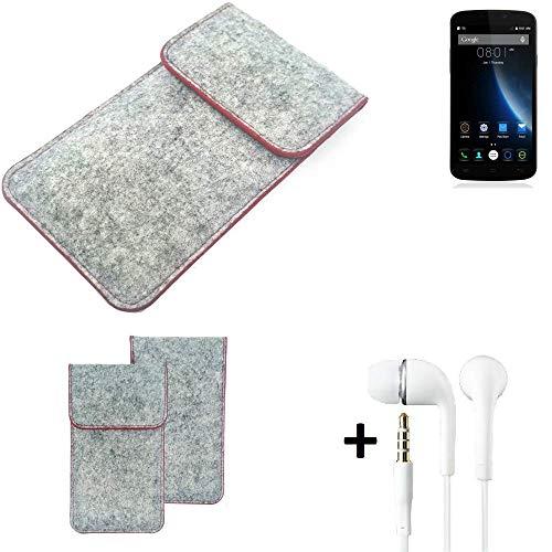 K-S-Trade Handy Schutz Hülle Für Doogee X6S Schutzhülle Handyhülle Filztasche Pouch Tasche Hülle Sleeve Filzhülle Hellgrau Roter Rand + Kopfhörer
