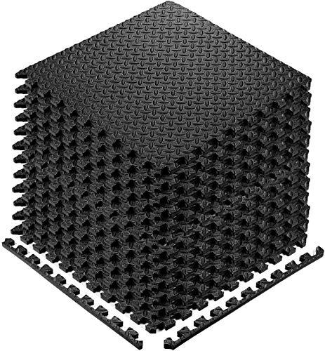 Tapis de Fitness,60x60CM Tapis de Protection de Sol, dalles emboîtables en mousse EVA avec bordures, pour la maison, la salle de sport, Noir/gris (noir-8PCS)