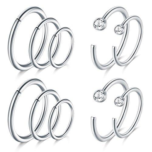 JFORYOU Silver Nose Rings Hoop Cartilage Hoop Helix Earrings Stainless Steel Ear Tragus Piercing 18G 6mm 8mm 10mm …