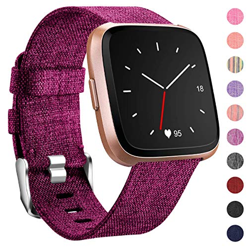 HUMENN Für Fitbit Versa Armband/Fitbit Versa 2 Armband, Woven Ersetzerband Verstellbares Zubehör Uhrenarmband mit Edelstahlschnalle Für Fitbit Versa/Fitbit Versa Lite, Klein Fuchsie