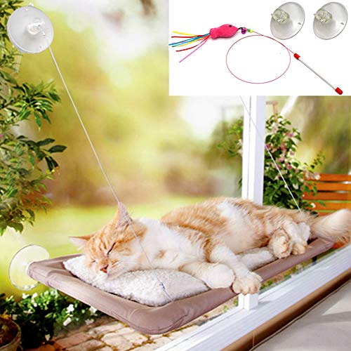 Angela&Alex Cat Window Perch, Cat Beds Hammock with 2 Extra Suction Cups with Cat Toys Pet Resting Seat Safety Space Saving Cat Shelves Providing All-Around 360° Sunbath Hold 30lb-50lb