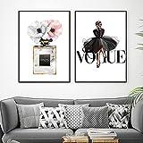 Moda mujer vestido póster impresiones lienzo Perfume y flores impresión pintura Vogue pared arte Cuadros sala de estar interior decoración del hogar 40×60cm×2 sin marco