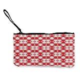 Bolso de tela escocesa roja y blanca para cambiar monedas para mujer, multiusos, bolsa de aseo