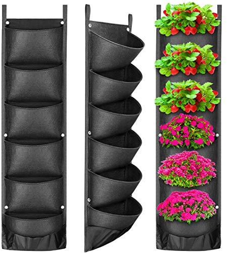 ANBET 6 Tasche hängende Wand Pflanzer verbesserte wasserdichte Schicht Garten Pflanzsack erweitert und vertiefte Taschen für Balkon Garten Hof Office Home Dekoration