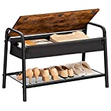 HOOBRO Entryway Shoe Bench, Flip Top Shoe Rack Bench, Industrial Storage Bench with Mesh Shelves, 3 in 1, Multifunctional, Space Saving, Stable and Sturdy, Easy Assembly, Rustic Brown BF73HX01