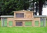 Zooprimus abris cages pour petits animaux grande cage clapier extérieur en bois pour lapins Docteur Lièvre - largeur totale 2,48 m