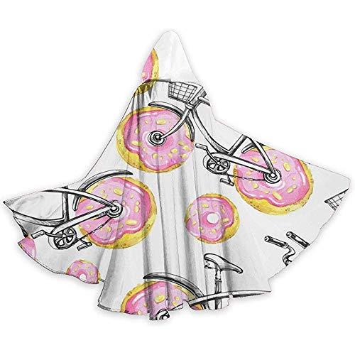 KDU Fashion Wizard Cape, Fietsen Donuts Wielen Hooded Cape Cloak Gepersonaliseerde Wizard Mantels Voor Themed Party 40x150cm