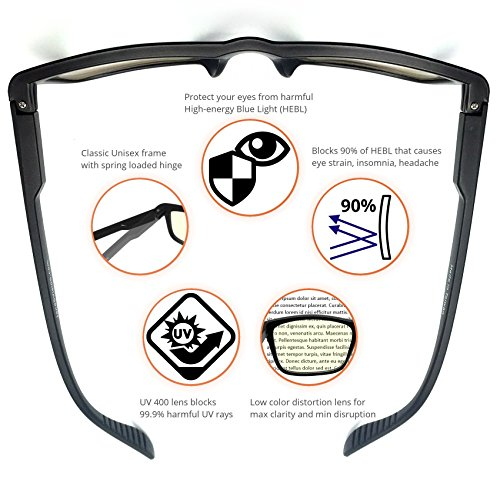 J+S Vision Blue Light Shield Computer Reading/Gaming Glasses - 0.0 Magnification - Anti Blue Light 100% UV Protection Low Color Distort   ion, Classic Black Frame - Essential Gaming Gear