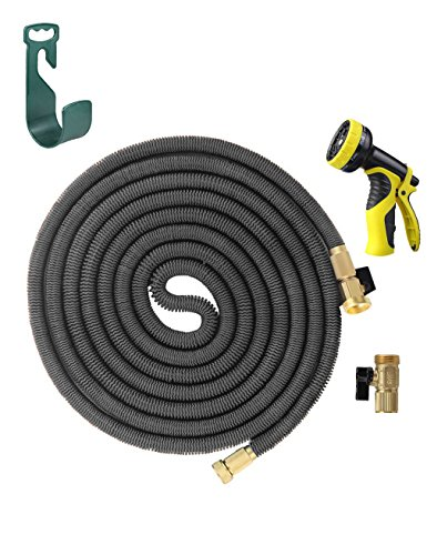 HELEN 25FT Expanding Heavy Duty Expandable Strongest Garden Water Hose Triple Latex Core with Shut Off Valve Solid Brass Connector and 9-Patter Spray Nozzle, 2016 Improved Version(Gray)