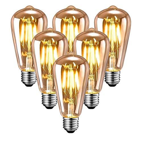 Edison Vintage Glühbirne, Edison LED Lampe Warmweiß E27 4W Retro Glühbirne Vintage Antike Glühbirne Ideal für Nostalgie und Retro Beleuchtung im Haus Café Bar usw - 6 Stück