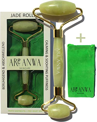 ARI ANWA Skincare ® Premium Jade Roller - Natürlich. Hochwertig. Effektiv. GRATIS E-Book & Samtbeutel | 100{fa6d33adfcd1964ec52ad35f6e1832b9e6e8db2d07b2648424fdb95d5ff5b5e1} echter Jade Gesichtsroller | Jade Roller Massagegerät