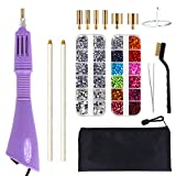 Hotfix Applicator, GLTECK DIY Hot Fix Rhinestone Applicator Wand Setter Tool Kit with 7 Different Sizes Tips, Tweezers & Brush Cleaning kit and 2 Pack Hot-Fix Crystal Rhinestones