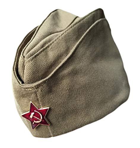 Ganwear® Original Russische UDSSR-Armee-Kappe Militär Uniform Pilotka Hut Sowjetisches roter Stern