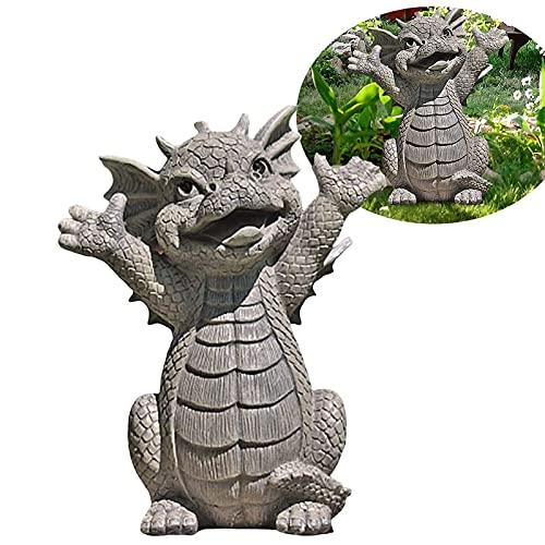 ZLHW Estatua de dragón, estatua de dragón de resina meditada, adorno de dragón de resina de colección al aire libre, para jardín, patio al aire libre, hogar, oficina, habitación, decoración de mesa, r