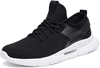 XUJW-Shoes, Fashion Sneakers for Men Low Top Walking Sport Shoes Elastic Casual Lace Up Mesh Round Toe Anti-Slip Breathable Lightweight Durable Walking Travel (Color : Black, Size : 8.5 UK)