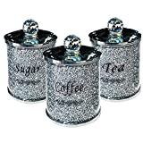 Aardich Tov Diamante machacado té CFEE azúcar Botes jarras de Almacenamiento de Plata Pasamanería de Cristal Lleno
