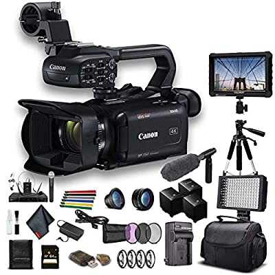 Canon XA40 Professional UHD 4K Camcorder (3666C002) W/ 2 Extra Battery, Soft Padded Bag, 64GB Memory Card, 3 Piece Filter Kit, LED Light, Lenses, 4K Monitor, Sony Mic and More Professional Bundle by Canon