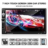 Autoradio,LESHP Auto Radio 2 Din Bluetooth 7 Pouces Ecran Tactile Full HD, IR Télécommande/FM/ AM/RDS/ TF/USB/avec Carte/Voiture MP5 Player Stéréo avec Caméra de Recul