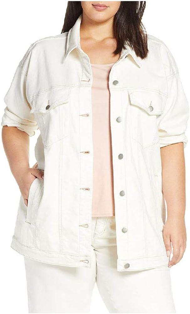 Eileen Fisher Undyed Natural Organic Cotton Stretch Denim Classic Collar Jean Jacket 3X
