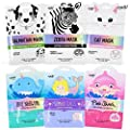 Epielle Character Skincare Facial Masks (Assorted-6 masks) 1-Dalmatian, 1-Zebra, 1-Cat, 1-Shark, 1-Narwhal, 1-Mermaid Scale