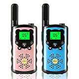 KUTHISIC Gift for Boys, Toys for 3-12 Year Old Boys Girls 3 Mile Long Range Kids Walkie Talkies Boys Toys Age 5 6 7 8 for Camping and Outdoor Activities(Blue Pink)