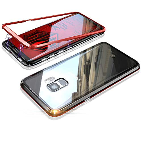 Funda para Samsung Galaxy S9, Jonwelsy Fuerte Tecnología de Adsorción Magnética Metal Bumper, Cubierta Trasera de Transparente Vidrio Templado Case Cover para Samsung Galaxy S9 (5,8 pulgada)