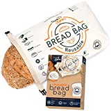Think4earth – Cotton Linen Bread Bag Organic - Reusable bread bags for homemade bread gift giving - Bread Container for large Sourdough Loafs – Counter Top Cloth Bread Storage and Transport Solution.