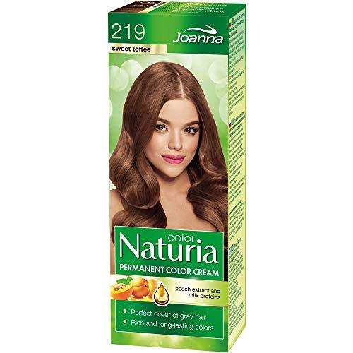 Naturia Permanent Haarfärbe-Creme – All das Gute aus Milchproteinen und Pfirsichextrakt – Haarfarbe in Premium-Qualität – Für Weiches und Glänzendes Haar – Lange Haltende Haarfarbe – Sweet Toffee