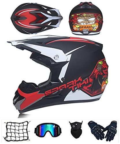 Casco motocross bambino, Certificato D.O.T casco da cross Bambino E Ragazzi, Casco da Motociclista...