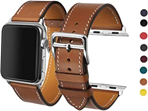 CAILIN Band iWatch Series 1 Series 2Series 3, Luxury Genuine Leather Smart Watch Band Strap Single Tour Replacement 42mm 2015 & 2016 &2017 All Models (Brown1)
