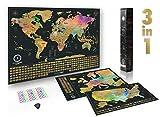 Paquete definitivo de mapa de rascar (acuarela mapa del mundo, de los EE. UU. y de Europa) | 3 mapas de rascar de gran calidad con un juego completo de accesorios y banderas de todos los países.