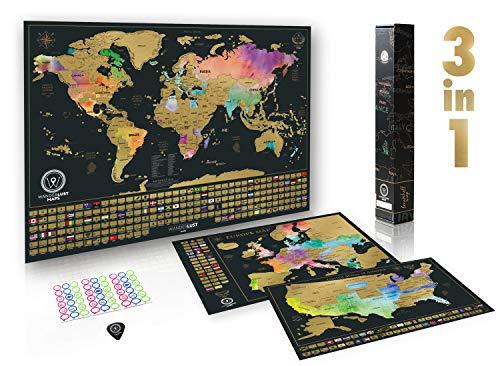 W WANDERLUST MAPS Rubbelkarte Ultimatives Set (Welt, USA und Europa) | Set mit 3 hochwertige Rubbelkarten und umfassendem Zubehör sowie Allen Länderflaggen – Premium-Wandkunst- Geschenk